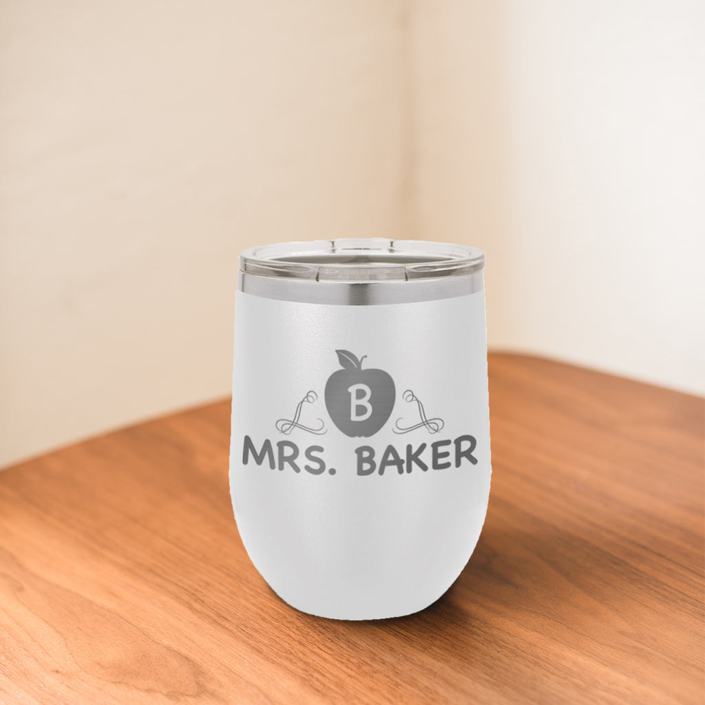 Custom Apple Initial Engraved 12 oz Tumbler