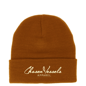 CV Signature Logo Beanie (Brown & Creme)