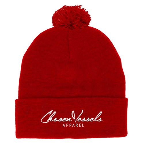 CV Signature Logo Puff Beanie (Red & White)