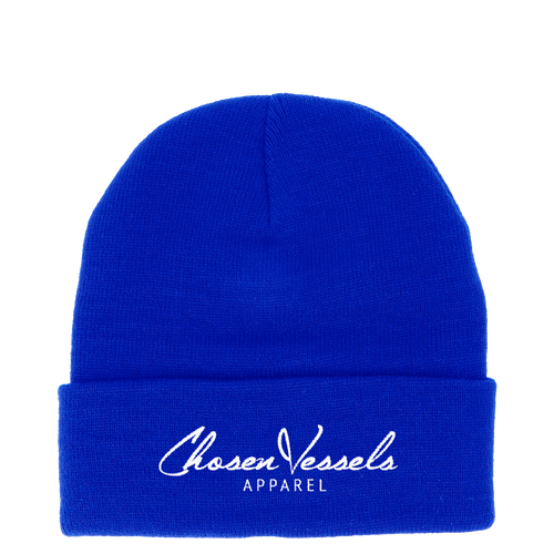 CV Signature Logo Beanie (Royal Blue & White)