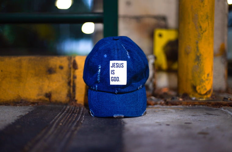 Jesus is God- Dad Cap (Dark Denim)