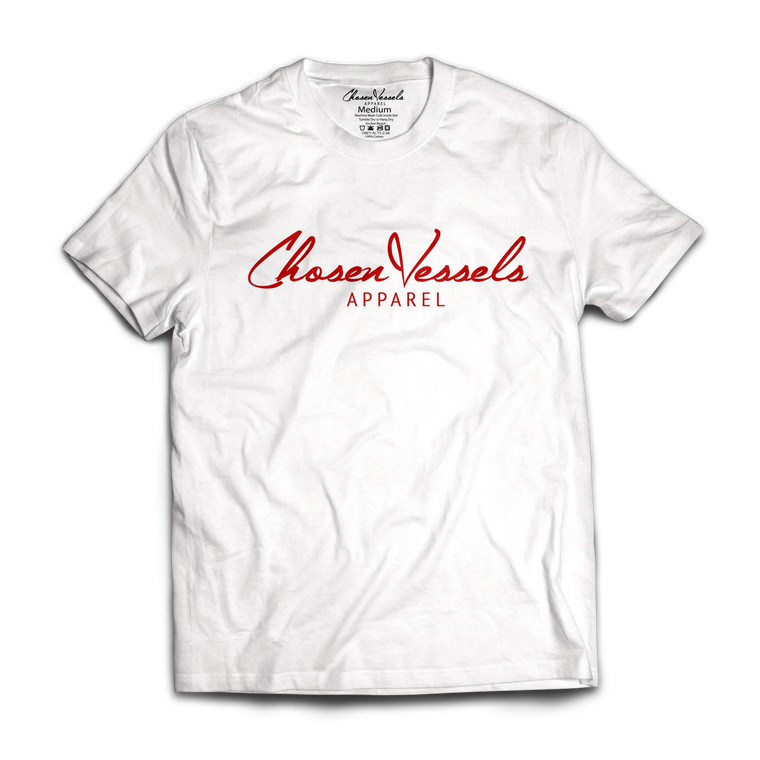 Chosen Vessels Signature Tee (White and Red)