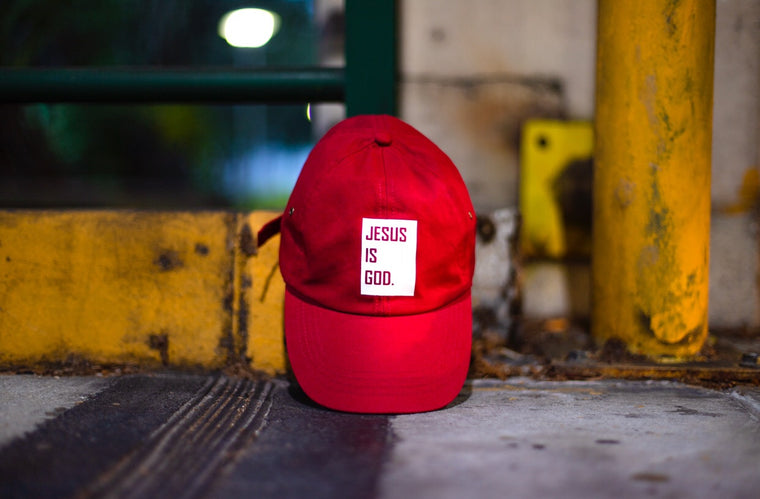 Jesus is God - Dad cap (dark red)