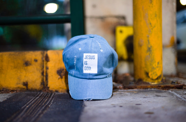 Jesus Is God - Dad Cap (Light Denim)