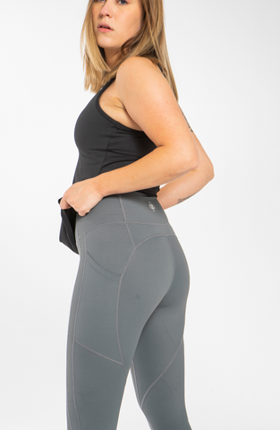 Height-Waist Grey Leggings