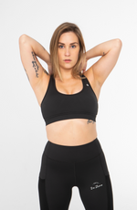 Load image into Gallery viewer, Black Mesh Sports Bra