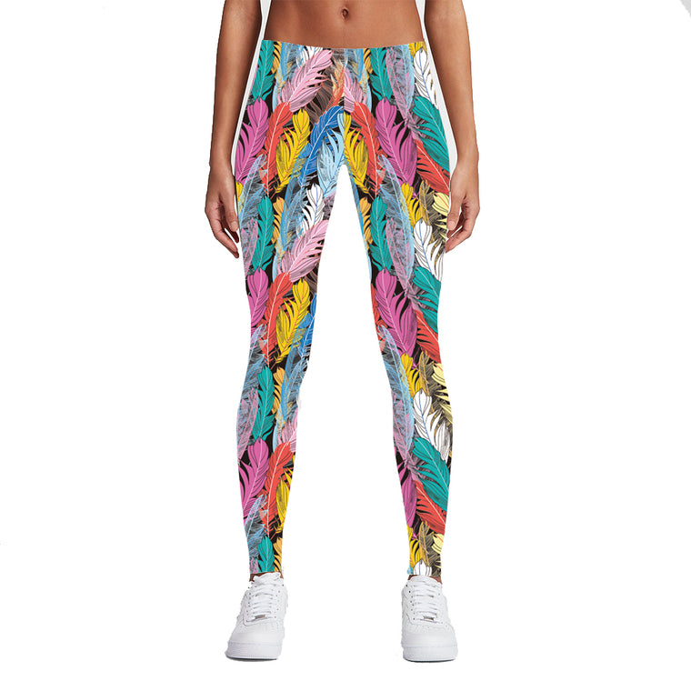 Colorful Feathers Leggings