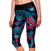 Sugar Skull Capri Leggings