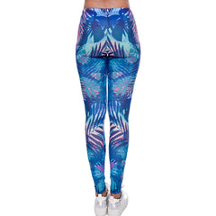 Caribbean Blue Leaves Leggings