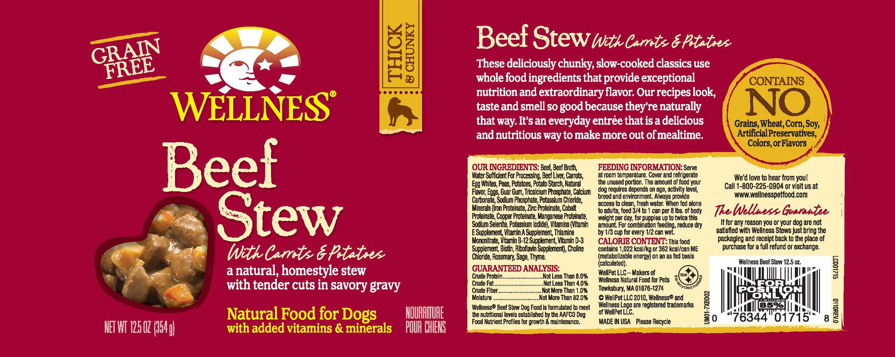 Wellness Grain Free Natural Beef Stew with Carrots and Potato Wet Canned Dog Food