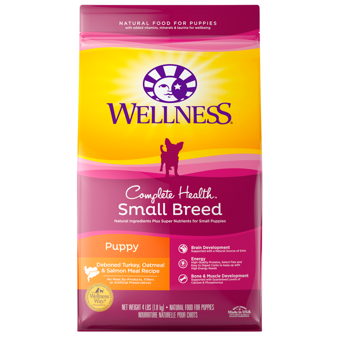Wellness Complete Health Natural Small Breed Puppy Healthy Weight Turkey, Oatmeal and Salmon Meal Recipe Dry Dog Food