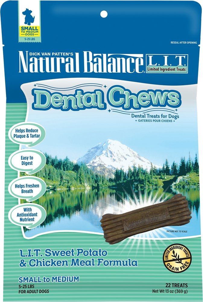 Natural Balance LIT Grain Free Sweet Potato and Chicken Meal Dental Dog Chews