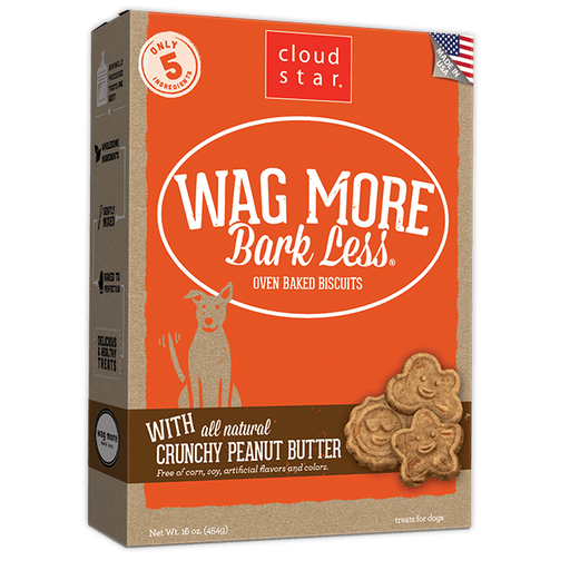 Cloud Star Wag More Bark Less Oven Baked Crunchy Peanut Butter Dog Treats