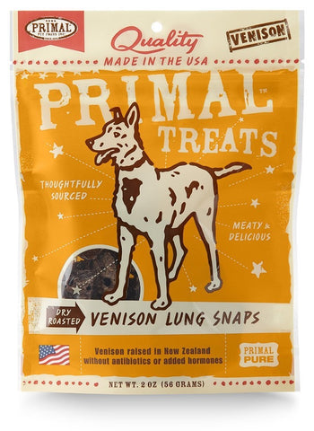 Primal Dry-Roasted Grain Free Venison Lung Snaps Dog Treats