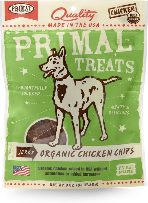 Primal Jerky Grain Free Organic Chicken Chips Dog Treats
