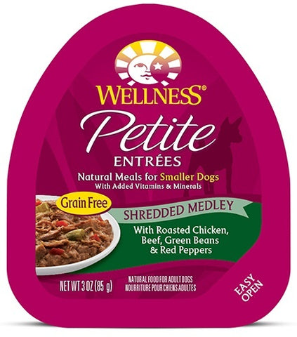 Wellness Small Breed Natural Petite Entrees Shredded Medley with Roasted Chicken, Beef, Green Beans and Red Peppers Dog Food Tray
