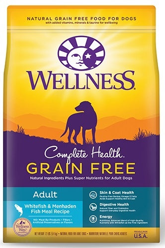 Wellness Complete Health Grain Free Natural Adult Whitefish and Menhaden Fish Meal Recipe Dry Dog Food