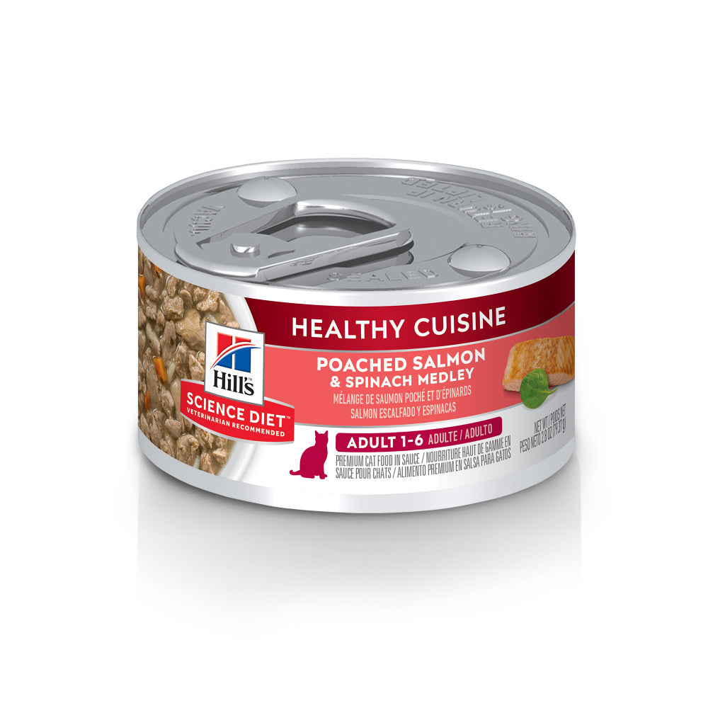 Hill's Science Diet Healthy Cuisine Adult Poached Salmon & Spinach Medley Canned Cat Food
