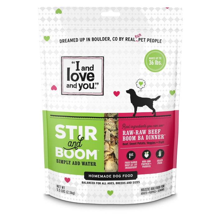 I and Love and You Grain Free Stir and Boom Raw Raw Beef Boom Ba Dehydrated Raw Dog Food