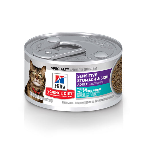 Hill's Science Diet Adult Grain Free Sensitive Stomach & Skin Tuna & Vegetable Entree Canned Cat Food