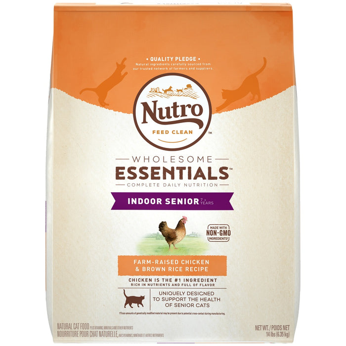 Nutro Wholesome Essentials Indoor Senior Farm Raised Chicken and Brown Rice Dry Cat Food