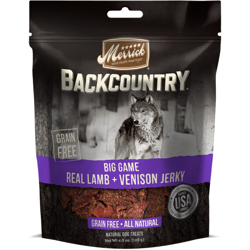 Merrick Backcountry Big Game Grain Free Real Lamb and Venison Jerky Dog Treats