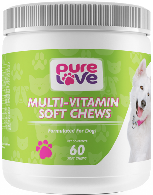 Pure Love Heart Shaped Multi-Vitamin Soft Chews for Dogs