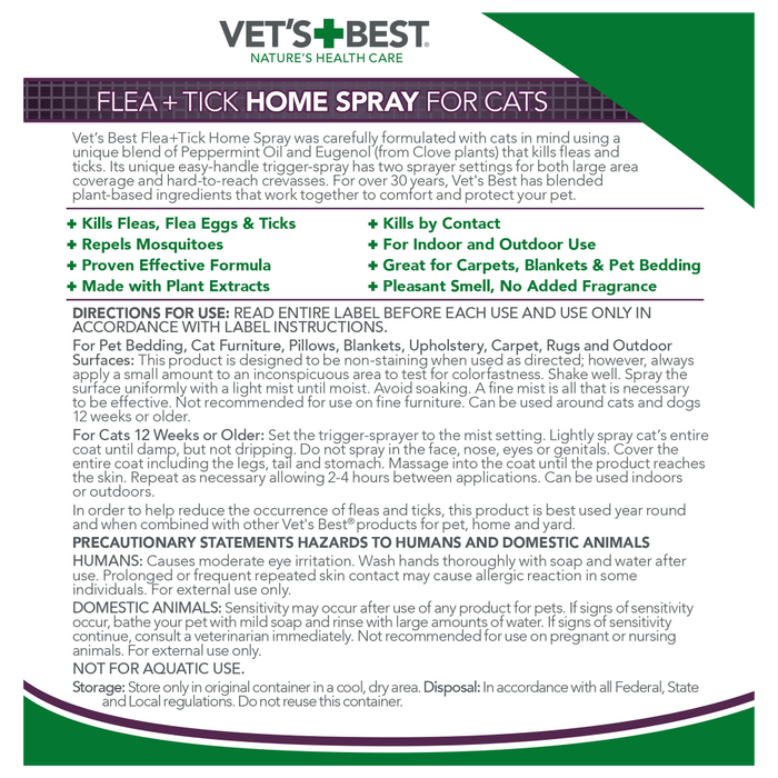 Vet's Best Flea and Tick Home Spray for Cats