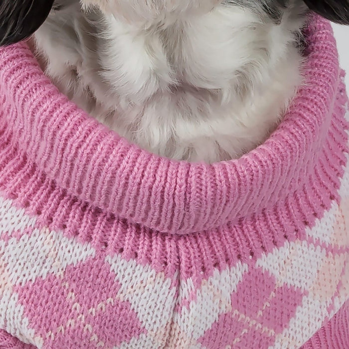 Pet Life Pink Argyle Knitted Dog Sweater