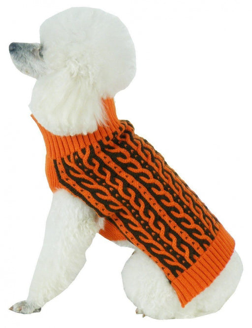 Pet Life Harmonious Dual Color Orange & Brown Weaved Heavy Cable Knitted Dog Sweater