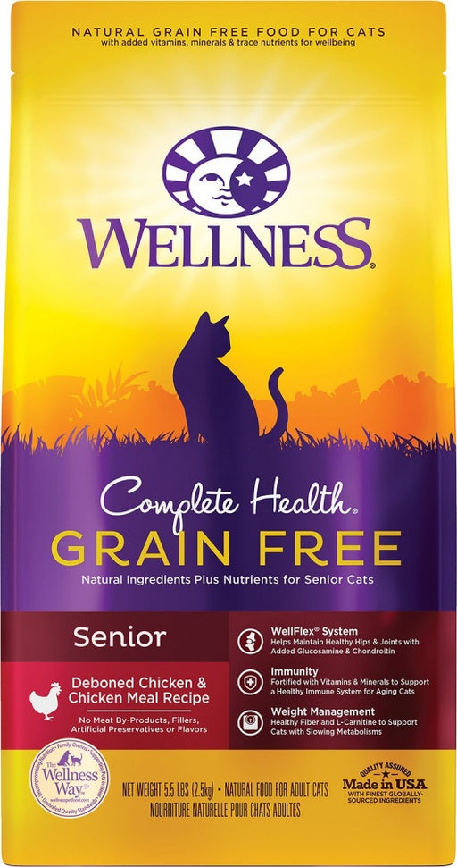 Wellness Complete Health Deboned Chicken & Chicken Meal Grain Free Senior Dry Cat Food