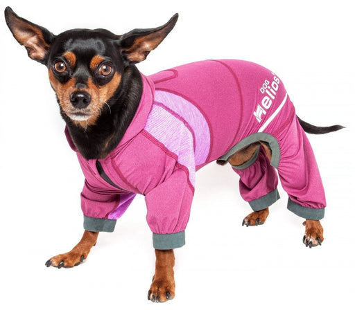 Pet Life Dog Helios Namastail Pink Full Bodied Performance Breathable Yoga Dog Hooded Tracksuit