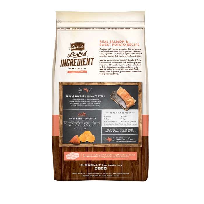 Merrick Limited Ingredient Diet Grain Free Real Salmon & Sweet Potato Recipe Dry Dog Food