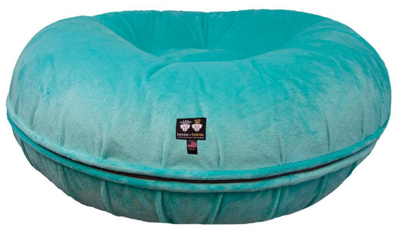 Bagel Dog Bed - Big, Plush & Comfy - Aqua Marine by Bessie + Barnie