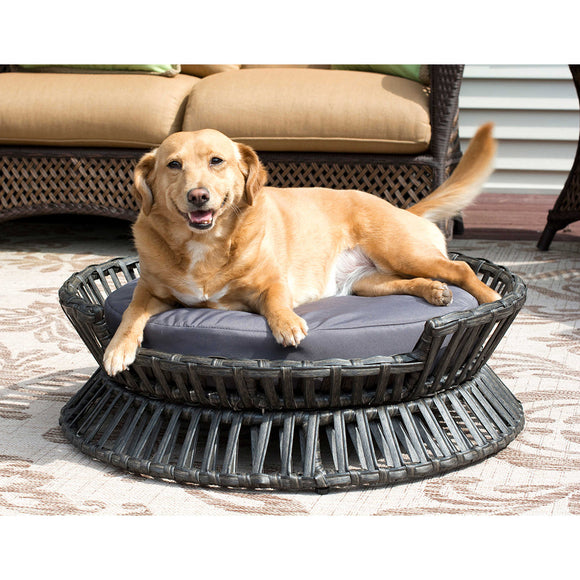 Rattan Round Raised Arc Bed by Iconic Pet
