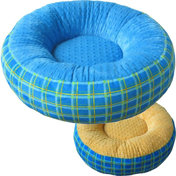 Cloud Nine Dog Beds - Round, Rectangle, Square - Azure Mango Dimple Plaid