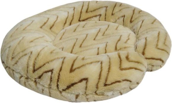 C-Shape Reversible Luxury Dog Bed - Butterscotch Faux Fur