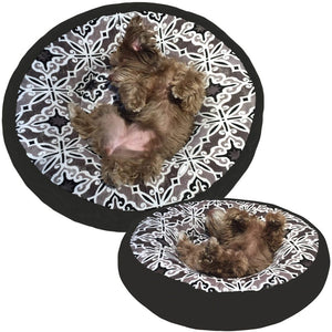 Cloud Nine Dog Beds - Round, Rectangle, Square - Capri Tile Pewter Ash Plush