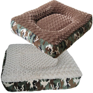 Cloud Nine Dog Beds - Round, Rectangle, Square - Camouflage Espresso Frosted Rose