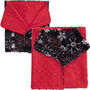 Luxury Decorative Dog Blankets - Flower Frenzy Red Dimple