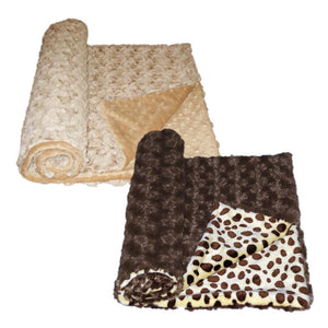 Luxury Decorative Dog Blankets - Chocolate Frosted Rose Dimple Caramel or Cheetah
