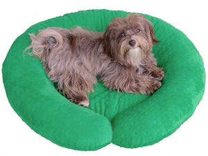 C-Shape Reversible Luxury Dog Bed - Green Dimple