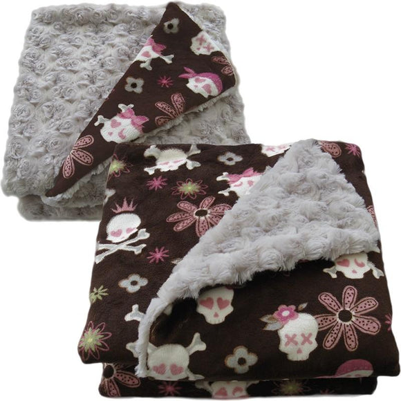 Luxury Decorative Dog Blankets - Pink Skullz & Bones Latte Rose