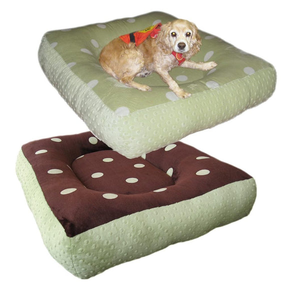Cloud Nine Dog Beds - Round, Rectangle, Square - Sage Chocolate Dimple Dots