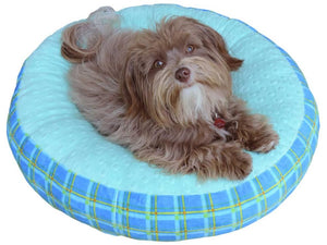 Cloud Nine Dog Beds - Round, Rectangle, Square - Opal Dimple Plaid Azure