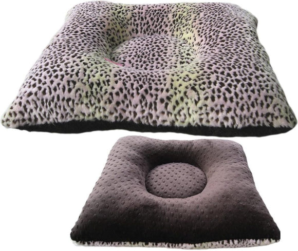 Reversible Luxury Square Dog Bed - Pink Lynx Faux Fur Mink Dimple