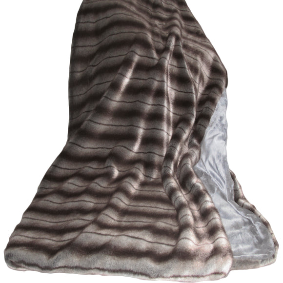 Luxury Faux Fur People-Sized Throws - Polo Mink Charcoal Plush