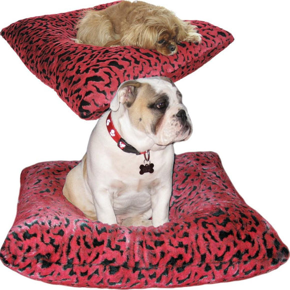 Reversible Luxury Square Dog Bed - Red and Black Sculpted Faux Fur