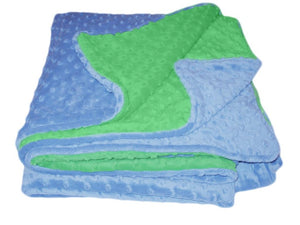 Luxury Faux Fur People-Sized Throws - Sky Blue & Kelly Green Dimple