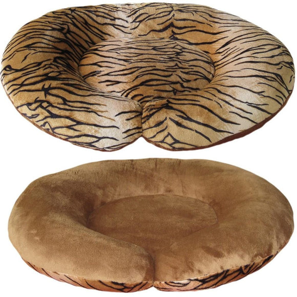 C-Shape Reversible Luxury Dog Bed - Plush Tiger Chestnut